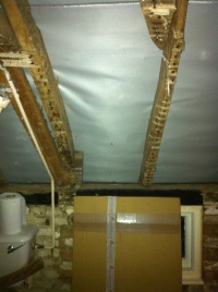 Ceiling of bathroom with view of exposed timbers