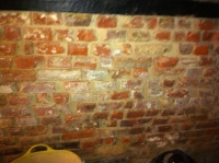 East wall of bathroom with bricks exposed