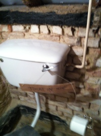 East wall of bathroom and toilet, with bricks exposed