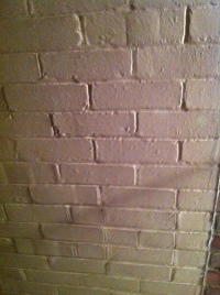 West wall of bathroom, close up