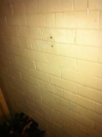 West wall of bathroom
