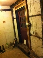 Side door with timbers cleaned