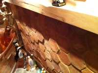 Bathroom bricks mortared, with surrounding woodwork