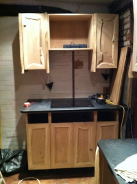 Hob and partially completed cabinets